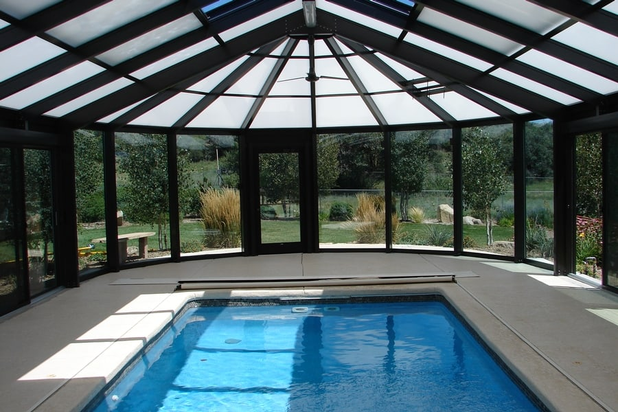 Pool enclosures extend your swimming season poolmax for Swimming pool enclosures cost